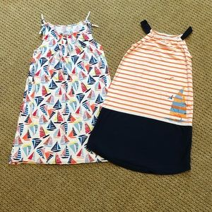 Two Girls Size 10/12 Lands End Summer Dresses